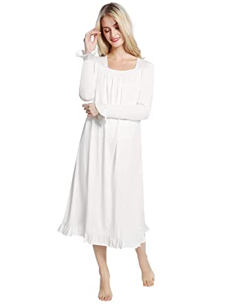 ce18280cfd AMONIDA White Victorian Nightgowns for Women Lace Long Sleeve Pajama for  Christmas