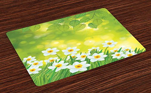 Ambesonne Daffodil Place Mats Set of 4, Daffodils Under Vibrant Tree Branch Leaves Spring Petals Seasonal Foliage Theme…