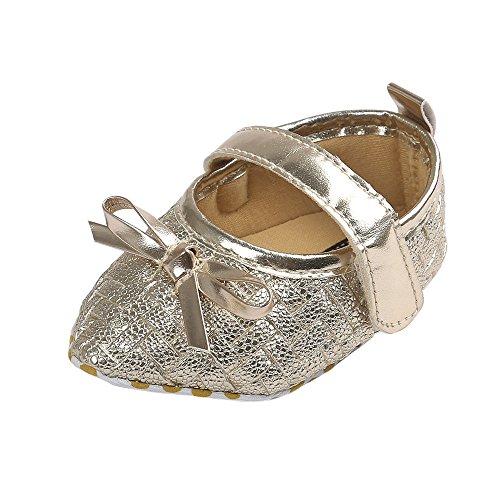 Estamico bebé niñas 'bowknot Pointed Toe plana de piel sintética Mary Jane Prewalker zapatos negro negro Talla:12-18months dorado