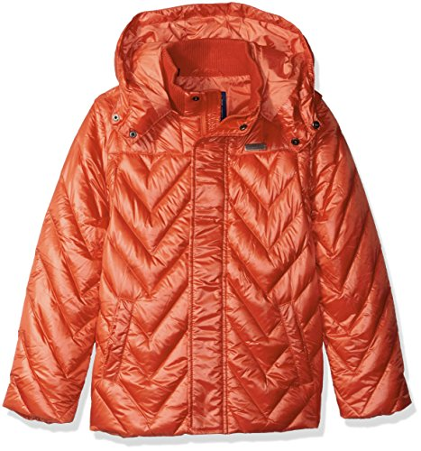 Guess Quilted Coat - GUESS Big Boys' Quilted Convertible Down Jacket with Removable Hood and Sleeves, Spicy Orange/Orange, 12