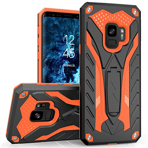 Zizo Static Series Compatible with Samsung Galaxy S9 Case Military Grade Drop Tested with Built in Kickstand Black Orange
