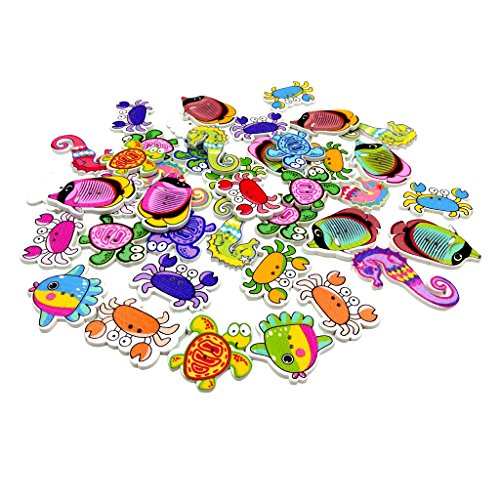 MonkeyJack 100 Piece Sea Animals Shape 2 Holes Wooden Buttons for Scrapbooking Card Making Sewing Decoration DIY Craft 22-40mm