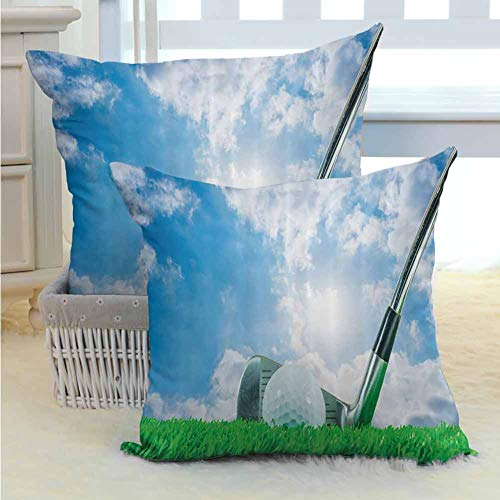 SEMZUXCVO Sports Decor Collection Living Room Sofa Hug Pillowcase Golf Ball and Iron Club on Grass and Cloudy Sky Shining Sun Practicing Picture Suitable for Hair and Skin Health W16 x L16 inch (The Simpsons Golf Club Covers)