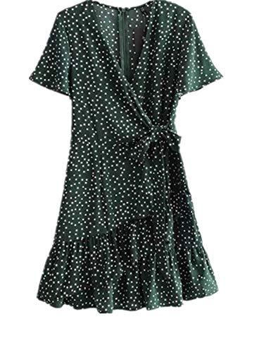 Corte A Con V Scollo Vestito Abito Green Pois Risvolto Gperw Dark Maniche byf7Y6g