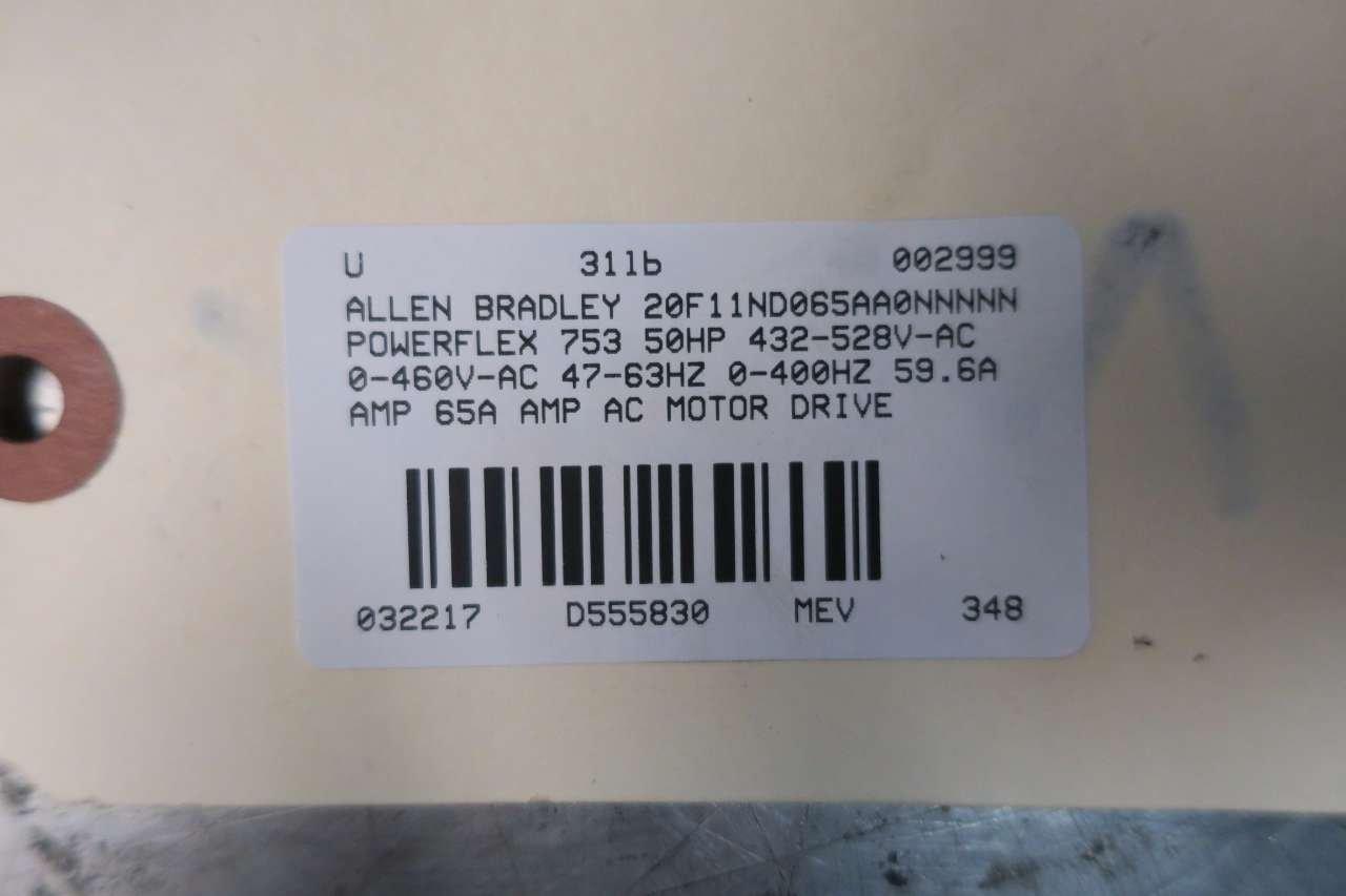 ALLEN BRADLEY 20F11ND065AA0NNNNN POWERFLEX 753 50HP 480V-AC MOTOR
