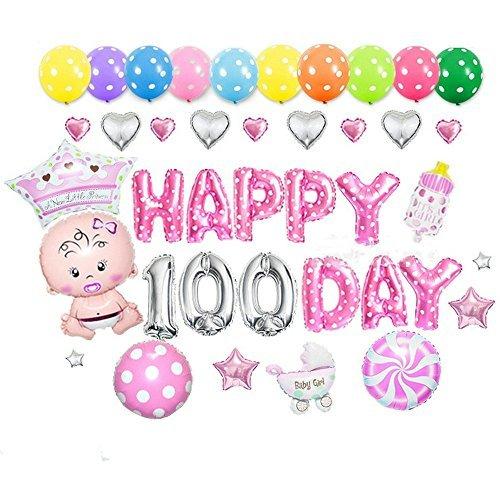 Goer Cute Pink Globos de las letras del alfabeto Conjunto Happy 100 Day Party Decoración Suministros, incluyen 37 Globos ()