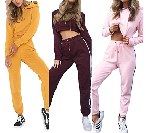 Zaaale Women's Two Piece Sweatsuit Outfits Sport Crop Top Hoodies and Long Pants Tracksuit Jumpsuit (US 6-8/Tag XL(Bust 40.2''), Yellow (2 Piece Hooded Sweatsuit Pants)