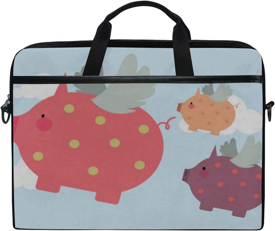 Laptop Bag Flying Piggies 15-15.4 Inch Laptop Case College Students Business People Office Workers Briefcase Messenger Shoulder Bag for Men Women