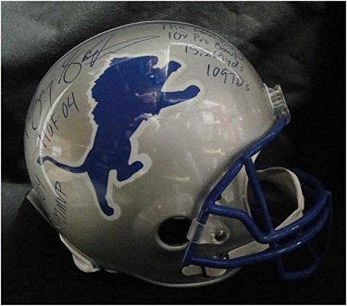 Barry Sanders Hand Signed Autograph Full Size Football Helmet Full Stats (Barry Sanders Stats)