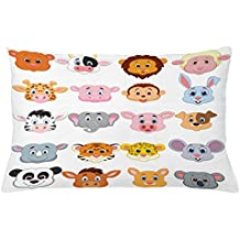 Cartoon Throw Pillow Cushion Cover by Ambesonne, Kids Themed Baby Cute Animals Lions Pigs Cows Farm Safari Baby Nursery Room Image, Decorative Accent Pillow Case, 26 W X 16 L Inches, Multicolor
