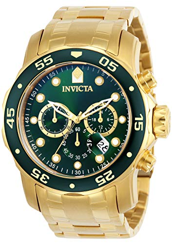 Gold Chronograph Swiss - Invicta Men's 0075 Pro Diver Chronograph 18k Gold-Plated Watch