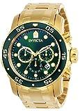 Invicta Men's Pro Diver Scuba 48mm Gold Tone Stainless Steel Chronograph Quartz Watch, Gold/Green (Model: 0075)