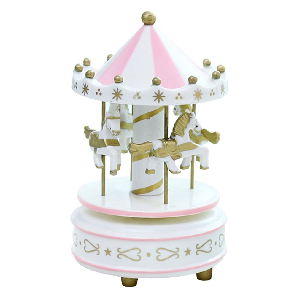 Symboat Bo/îte /à musique cheval de carrousel romantique jouet bo/îtes /à musique carrousel en bois artistique Jouet Enfant Kids Toys