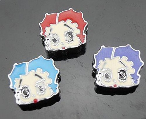 12 PC Betty Boop Lot of Slide Charms - DIY Jewelry Crafting 8mm Enamel Pendants