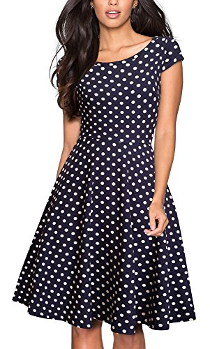 HOMEYEE Women's 1950s Vintage Elegant Cap Sleeve Swing Party Dress A009 (S, Dark Blue Dot)