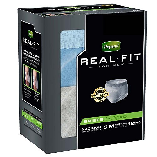 Depend Real Fit for Men Briefs Maximum Absorbency S/M 12 EA - Buy Packs and SAVE (Pack of 3)