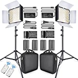 SAMTIAN LED Video Light 600 LED Camera/Studio Light Kit CRI95 3200K/5600K Camcorder Light Kit with Barndoors 75 inches Light Stand Batteries and Remote Camera Photo Light for Studio Photography, Video