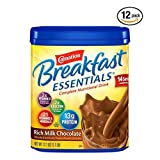 Carnation Breakfast Essentials Chocolate Powder, 17.7 Ounce Canister - Pack of 12