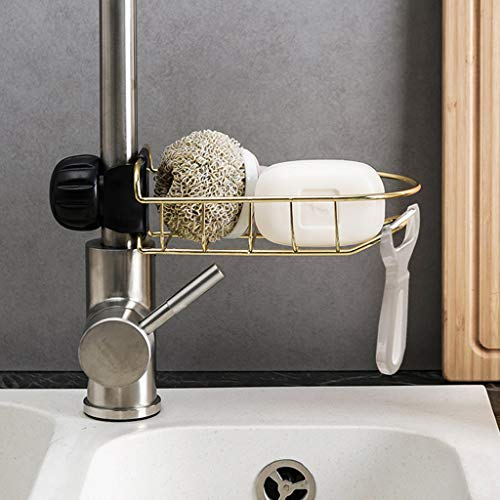 Sink Caddy Organizer Stainless Steel Holders SUJING Hanging Basket Storage Kitchen Organizer Sink Accessories (Gold)