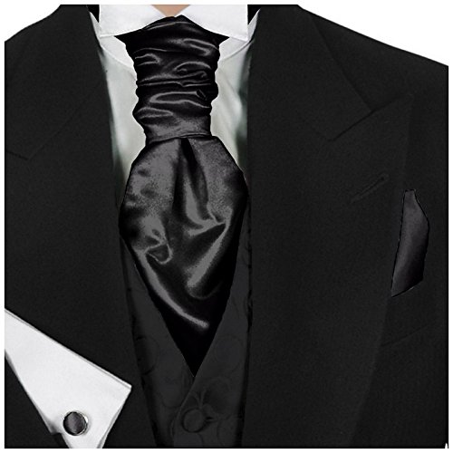 GASSANI Jet Black Men's Shiny Satin Pretied Ascot Tie, Hanky & Cufflinks Set (Solid Satin Cravats)