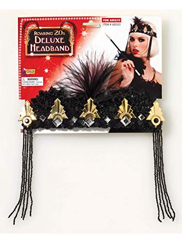 Forum Novelties Roaring 20's Deluxe Black and Gold Flapper Headband, Black/Gold, One Size