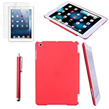 HDE iPad Mini Case Snap-On Back Cover Hard Shell for iPad Mini / Mini 2 / Mini 3 / Retina with Screen Protector + Stylus (Red)