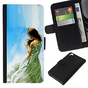 NEECELL GIFT forCITY // Billetera de cuero Caso Cubierta de protección Carcasa / Leather Wallet Case for HTC Desire 820 // Muchacha soñadora ÓLEO