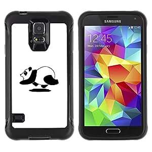 Suave TPU Caso Carcasa de Caucho Funda para Samsung Galaxy S5 SM-G900 / Panda Bear Running Cute Black White Art / STRONG