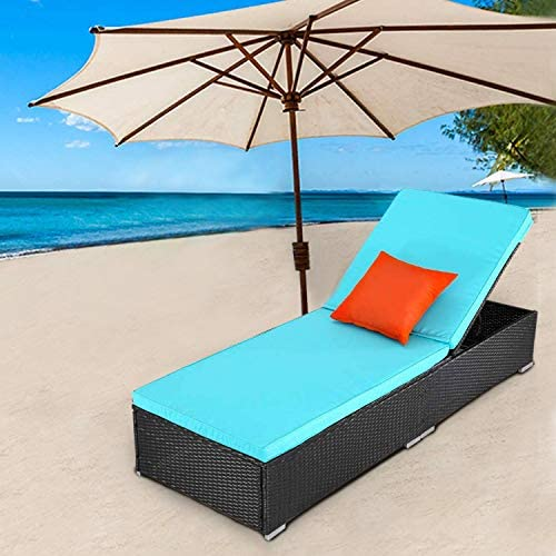 TUSY 1 Pieces Patio Chaise Lounge Sets, Adjustable Back, Rattan Furniture and Cushion Outdoor Rattan Lounge Chairs