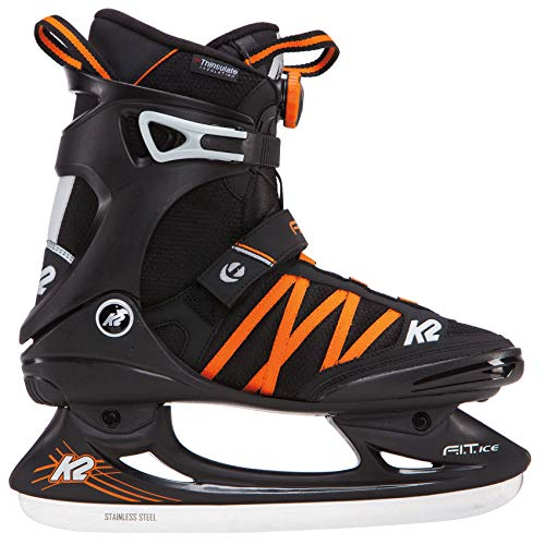 K2 Skate F.I.T. Ice BOA Skates, Black/Orange, Size 11