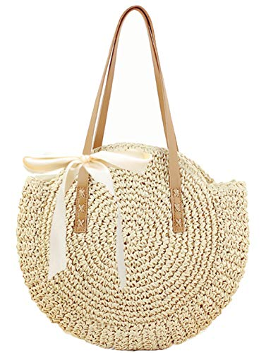 (Straw Handbags Women Handwoven Round Corn Straw Bags Natural Chic Hand Large Summer Beach Tote Woven Handle Shoulder Bag (Beige))