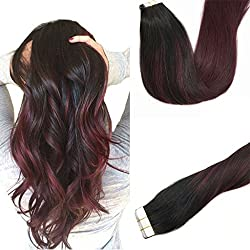 Googoo 14 inch Ombre Tape in Hair Extensions Balayage Black to Red Seamless Skin Weft Tape in Remy Hair Extensions 20 pcs 50g