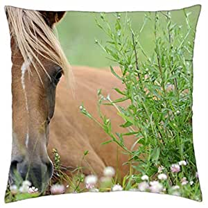 HORSE IN FLOWERS - Throw Pillow Cover Case (18