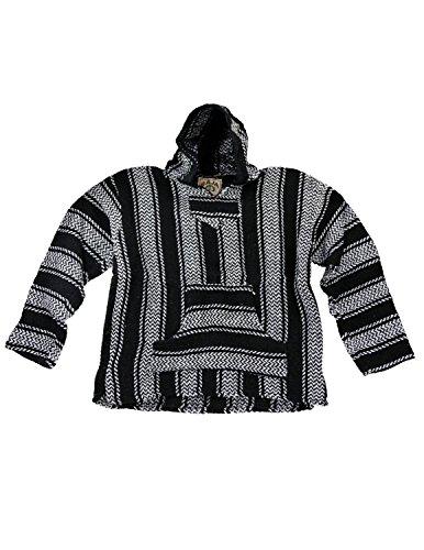 Baja Joe Eco-Friendly Woven Striped Pullover Baja Hoodie Black and White X-Large
