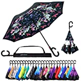 Reverse Inverted Inside Out Umbrella - Upside Down UV Protection Unique Windproof Brella That Open Better Than Most Umbrellas, Reversible Folding Double Layer (Flowers, 23 Inch X 8 Panels)