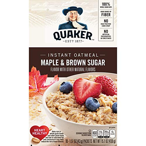 Quaker Instant Oatmeal, Maple Brown Sugar, Breakfast Cereal, 10 Packets Per Box (Pack of 4 Boxes)