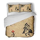 SanChic Duvet Cover Set Music Kokopelli Fertility Deity Ethnic African Sketch Africa Decorative Bedding Set with 2 Pillow Shams King Size