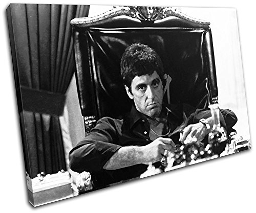 Bold Bloc Design – Scarface Al Pacino Movie Greats 90x60cm SINGLE Canvas Art Print Box Framed Picture Wall Hanging – Hand Made In The UK – Framed And …