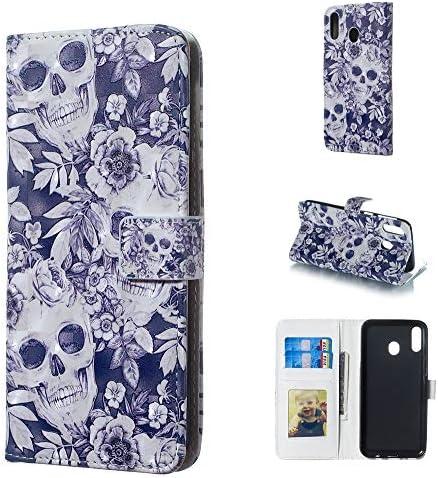 あなたの携帯電話を保護する 頭蓋骨と花のパターンホルダー&カードスロット&フォトフレーム&財布付きギャラクシーM20用3D水平フリップレザーケース
