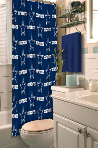 Dallas Cowboys COMBO Shower Curtain, Matching Shower Curtain Rings & Set of (Four) Appliqué Bath Towels with Team Logo - Decorate your Bathroom & SAVE ON BUNDLING!