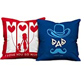 indibni Parents Anniversary Gift Love You Mom Dad Quote Multi Cushion Cover 16x16 inch Set of 2 - Gift for Mother-Father-Birthday, Mom Daddy Throw Pillow