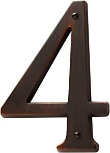 """Baldwin Estate 90674.112.CD Solid Brass Traditional House Number Four in Venetian Bronze, 4.75"""""""