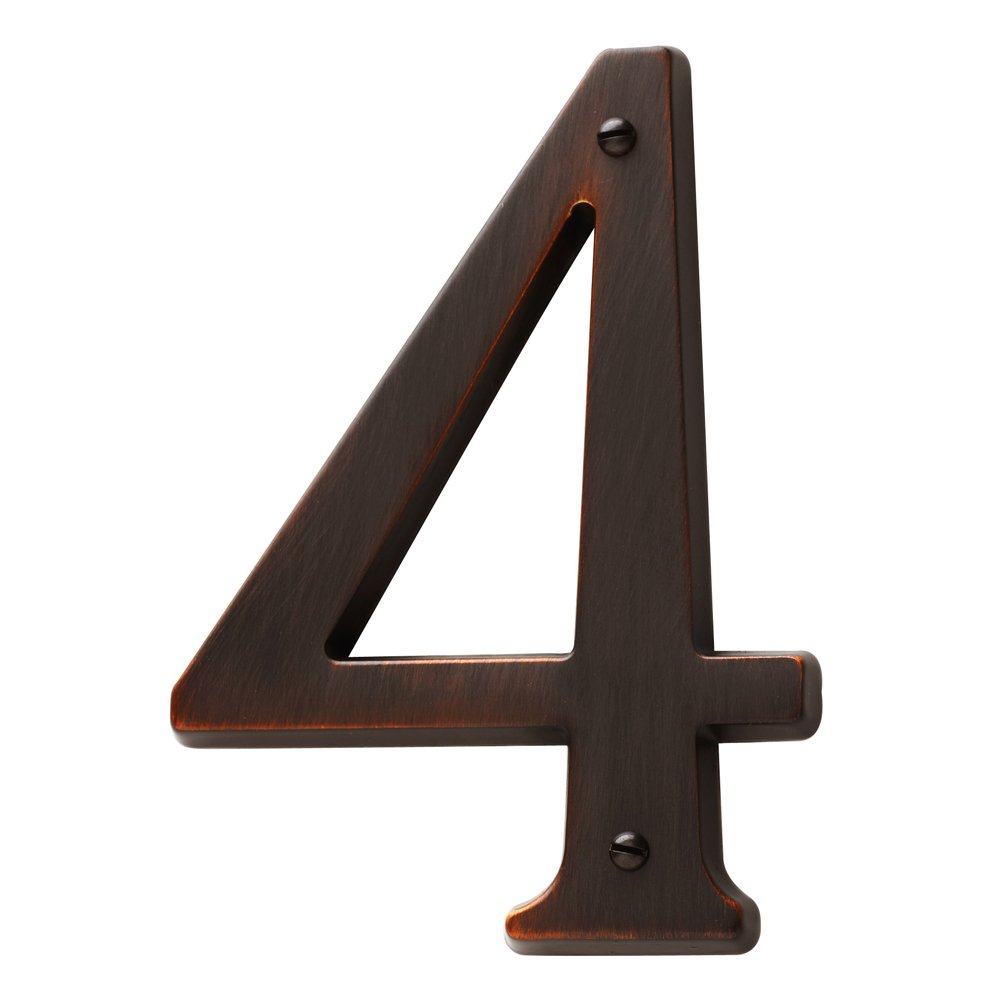 Baldwin Estate 90674.112.CD Solid Brass Traditional House Number Four in Venetian Bronze, 4.75''