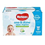 Huggies one & done hypoallergenic scented baby wipes, 6 refill packs, 1056 count