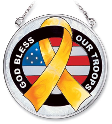 Amia Hand Painted Glass Suncatcher with God Bless Our Troops, Yellow Ribbon Design, 3-1/2-Inch Circle