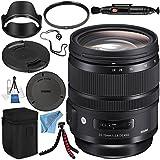 Sigma 24-70mm f/2.8 DG OS HSM Art Lens for Canon EF + 82mm UV Filter + Lens Pen Cleaner + Fibercloth + Lens Capkeeper + Lens Cleaning Kit + Flexible Tripod Bundle