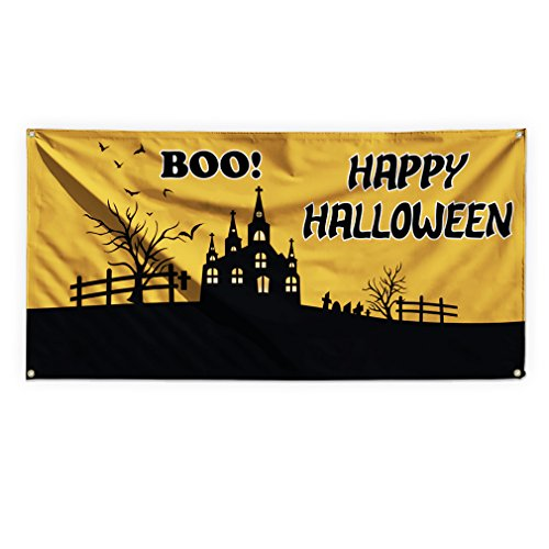 Boo! Happy Halloween Outdoor Advertising Printing Vinyl Banner Sign With Grommets - 2ftx3ft, 4 (Happy Halloween Banner Print Out)