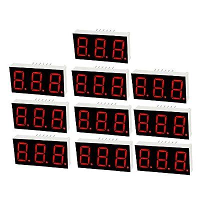 "uxcell Common Cathode 12 Pin 3 Bit 7 Segment 1.48 x 0.75 x 0.31 Inch 0.55"" Red LED Display Digital Tube 10pcs"