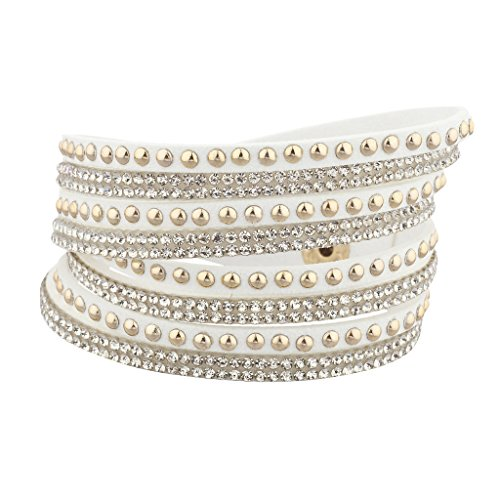 (Lux Accessories White and Goldtone Crystal Studded Stones Braided Wrap Bracelet)