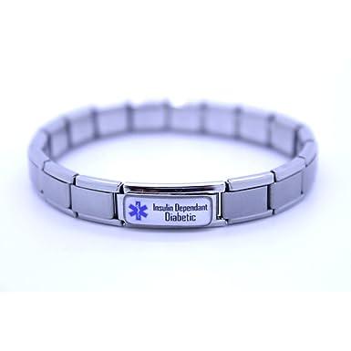 Insulin Dependant Diabetic Medical Alert Bracelet - Stainless Steel - One size fits all - Totally Adjustable oil1yL